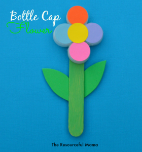 Upcycle your recycled bottle cap/lids with this kid craft bottle cap flower.