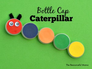 This Bottle Cap Caterpillar is a fun and easy kids' craft using recycled bottle caps. Find some bring colored paper, googly eyes, piper cleaners, glue and you are set.