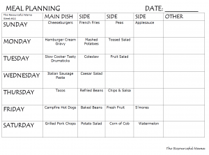 Weekly meal planningfor dinner includes main course and side...free printable.