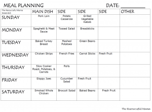 Printable weekly meal plan that includes main course and sides.