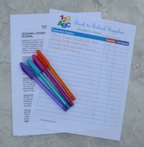 Free printable back to school supply list