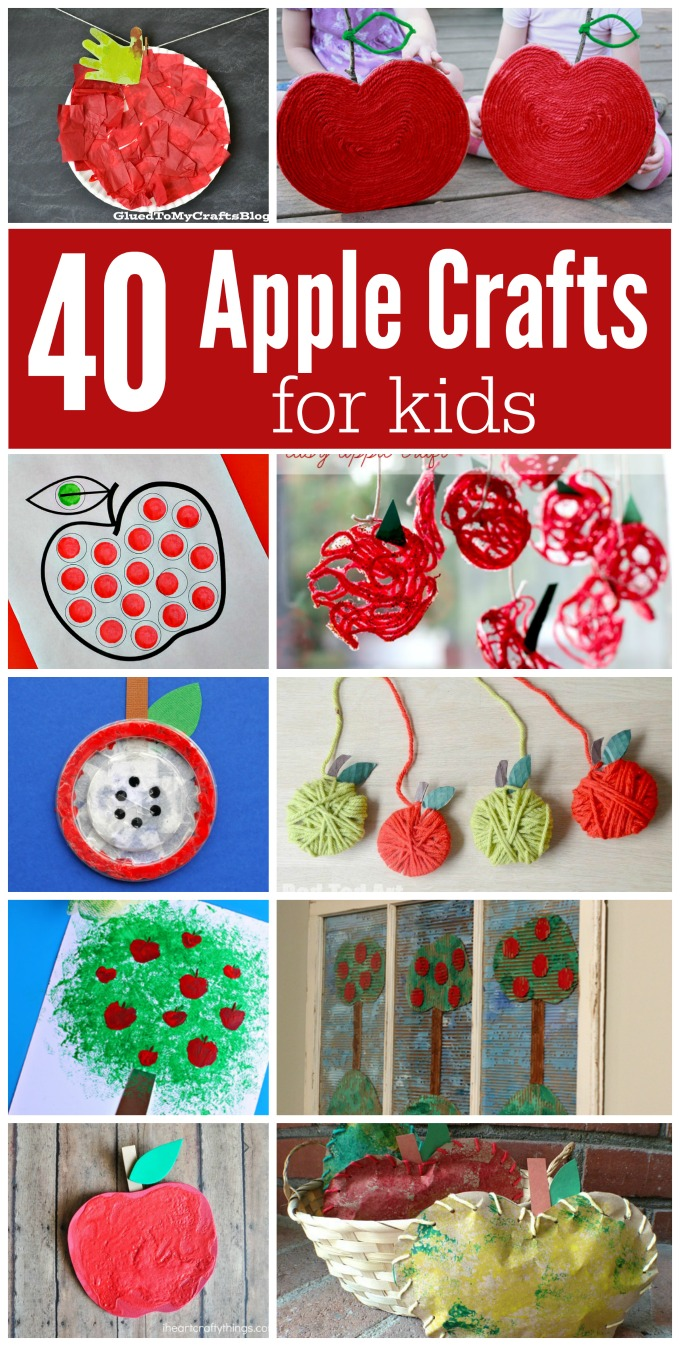 Ultimate list of apple crafts for kids fall|back to school|round up|yarn apple|handprint apples|painted apples|painting with apples|mixed media apples|tissue paper apples|paper plate apples