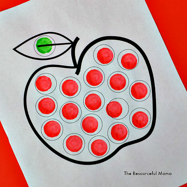 Apple Dot Painting Dot Marker Printable The Resourceful Mama