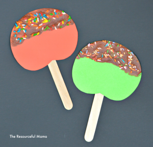 Caramel apple craft for kids using puffy paints