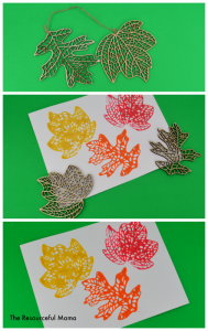 Used fall decor items to make fall leaf stamps. Great project for the kids!