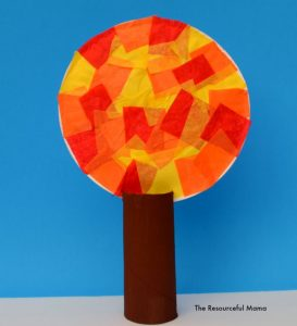 Kid craft fall tissue paper tree made with recycled toilet paper roll