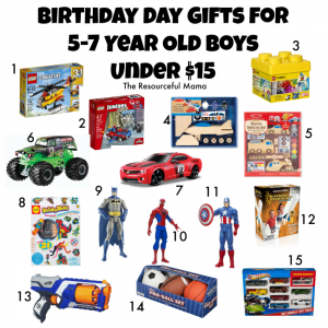 Birthday gift guide for 5-7 year old boys all under $15.