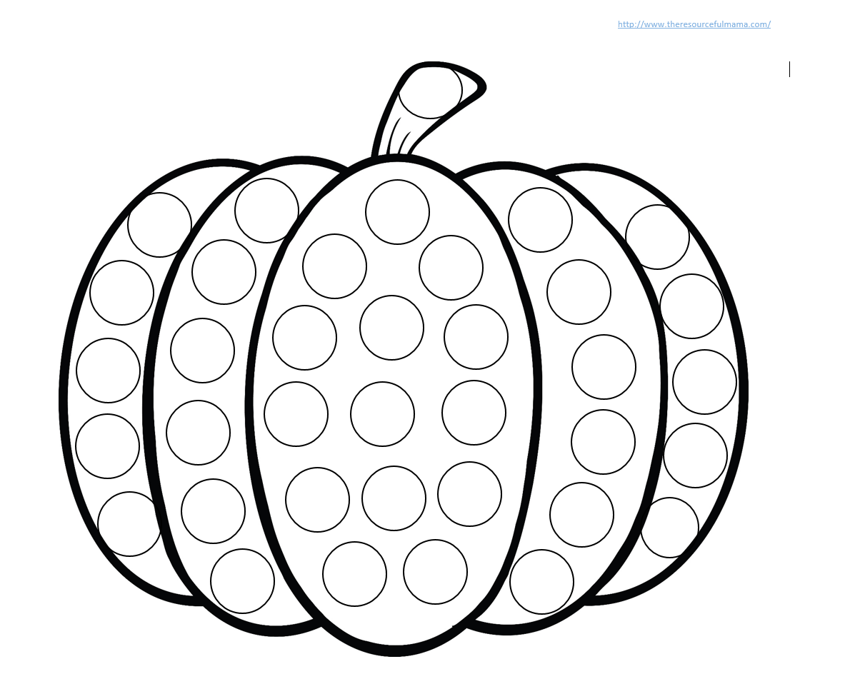 image relating to Printable Pumpkin Pictures titled Pumpkin Do a Dot Worksheet - The Inventive Mama