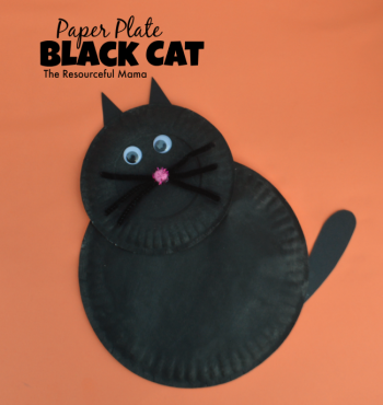 Paper Plate Black Cat Kid Craft