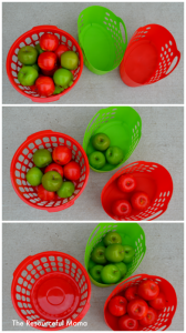 Apple sorting-great activity for toddlers with items bought from the Dollar Tree.