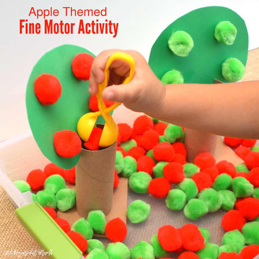 This apple themed fine motor activity combines early math, colors, and fine motor skills all in one activity for toddlers and preschoolers. By flipping the tree tops, it easily transitions to a more challenging activity for older preschoolers and kindergartners. Fall | Sorting | Early Childhood | Hand-Eye Coordination