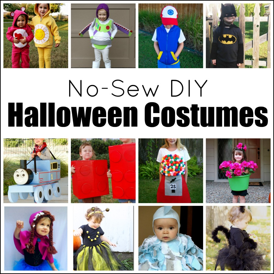 Cute and fun no-sew DIY Halloween kid costumes. Your favorite characters including Batman, Anna, Thomas the Train, Pokemon, Buzzlight Year, Care Bears, and Legos, Also included adorable bee, cat, chicken, flower pot, and gumball.