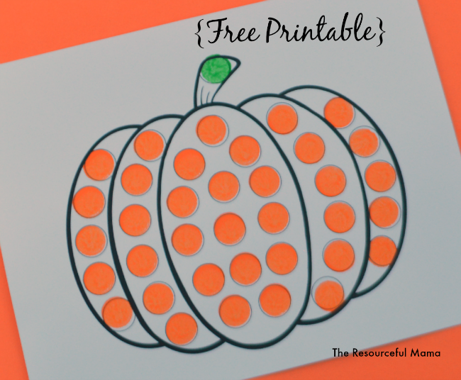 photograph relating to Printable Pumpkin Pictures identified as Pumpkin Do a Dot Worksheet - The Creative Mama