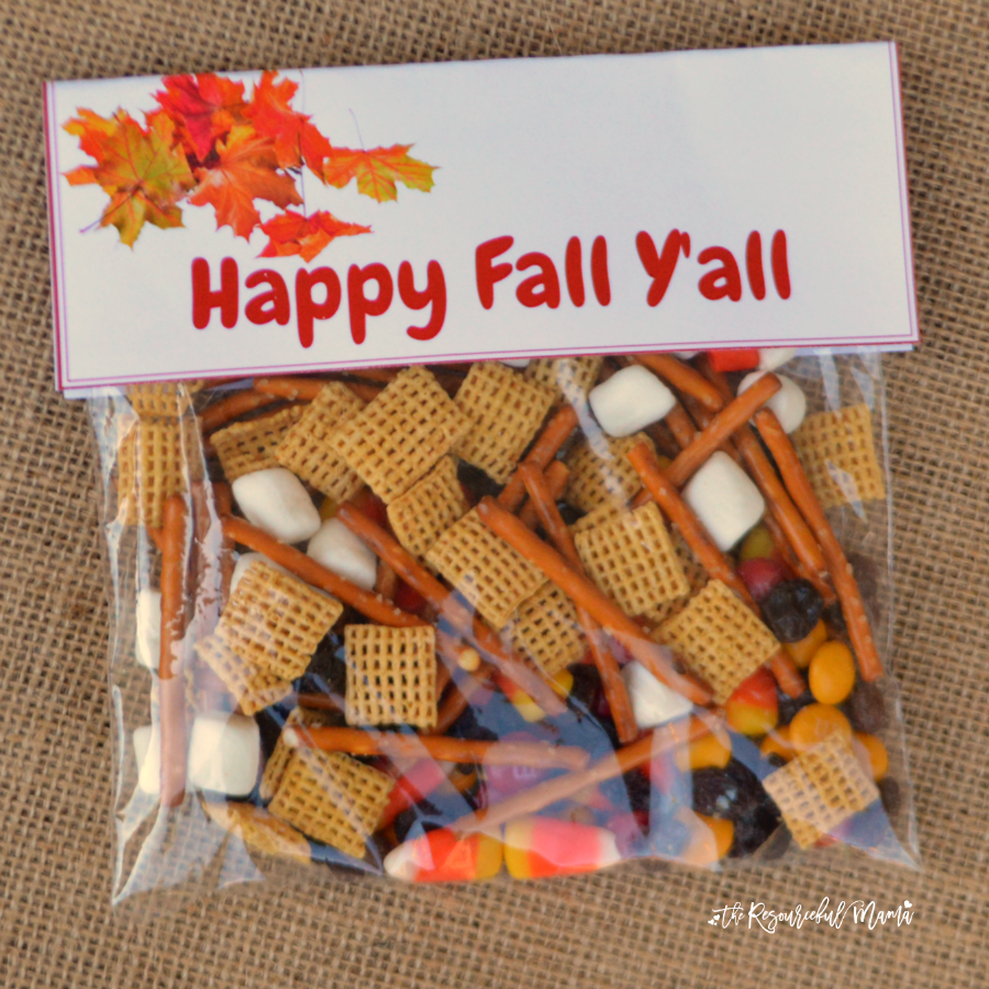 Quick and easy fall snack treat bag prefect for school snacks, fall gatherings an parties. FREE PRINTABLE LABEL
