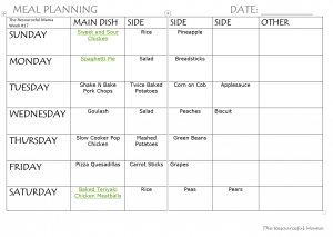 Meal plan for dinner complete with sides free printable