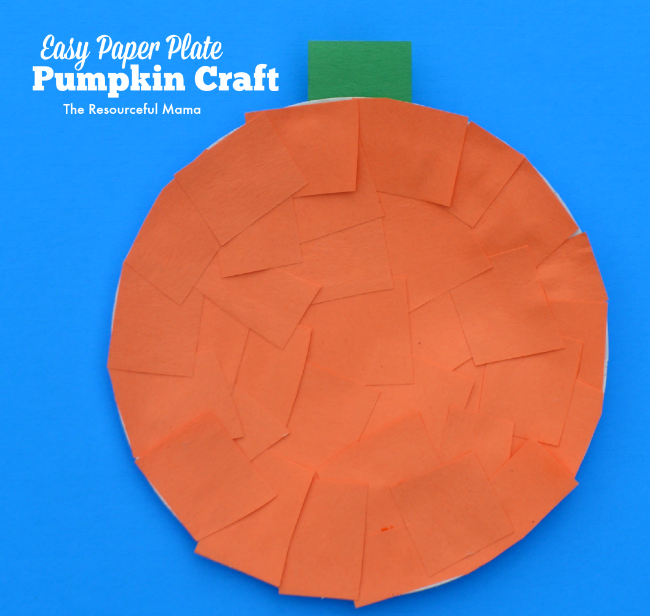 Easy pumpkin kid craft made with paper plates  sc 1 st  The Resourceful Mama & Easy Paper Plate Pumpkin Craft - The Resourceful Mama