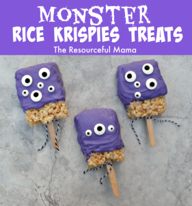 Monser Rice Krispies Treats great for Halloween parties