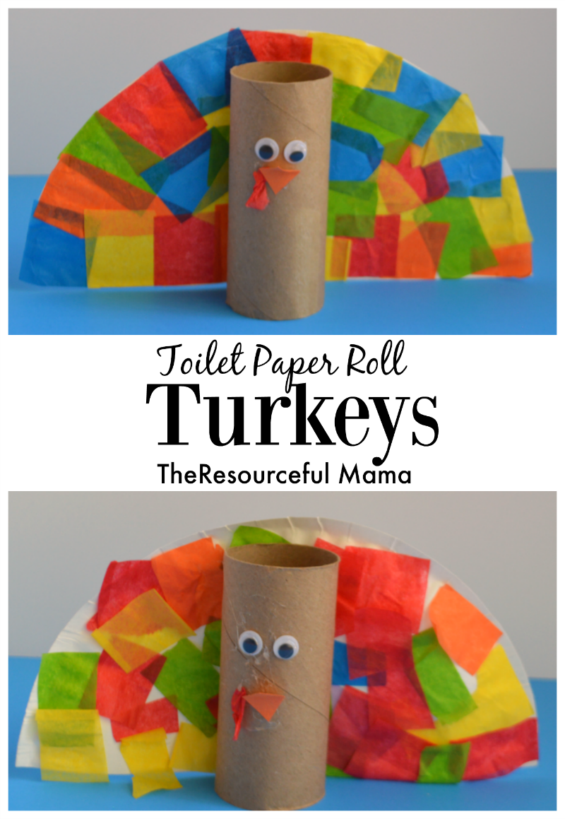 Thanksgiving turkey kid craft using some a few of our favorite crafting supplies: toilet paper rolls, paper plates, and tissue paper. My preschooler loved making her turkey!