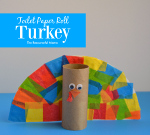 This Thanksgiving turkey craft is full of fun crafting materials: toilet paper roll, paper plate, and tissue paper