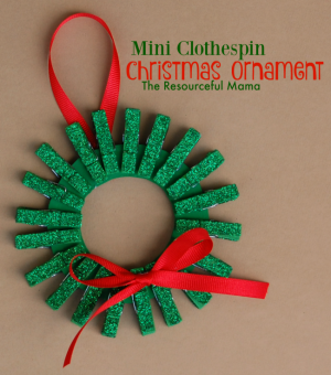 Mini Clothespin Christmas Wreath Ornament for Kids
