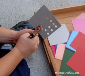 Hole Punch Fine Motor Activity for young kids preschoolers & kindergartners