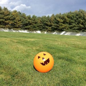 Great Halloween activity to get he kids active. All you need is an orange ball and sharpie marker.