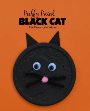 Puffy Paint Black Cat Kid Craft