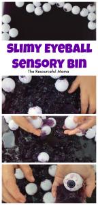 Slimy eyeball sensory bin perfect for Halloween