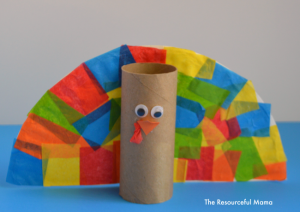 Toilet paper roll turkey kid craft perfect for Thanksgiving!