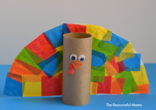 Toilet paper roll turkey kid craft the resourceful mama for Toilet tissue roll crafts