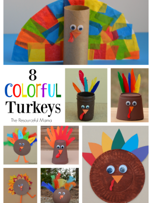 8 Colorful Turkey Kid Crafts
