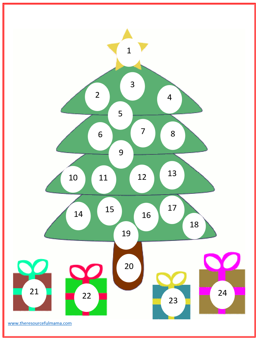 Christmas Countdown Advent Calendar - The Resourceful Mama