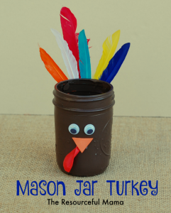 This mason jar turkey is perfect for adding crayons or makers and placing it on the kids' table for Thanksgiving.
