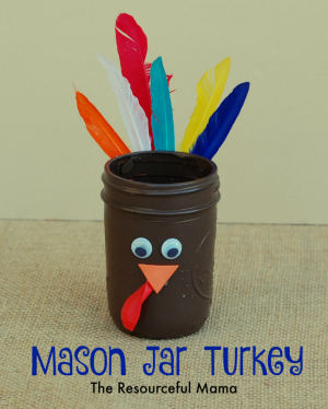 Mason Jar Turkeys for the Thanksgiving Kid Table