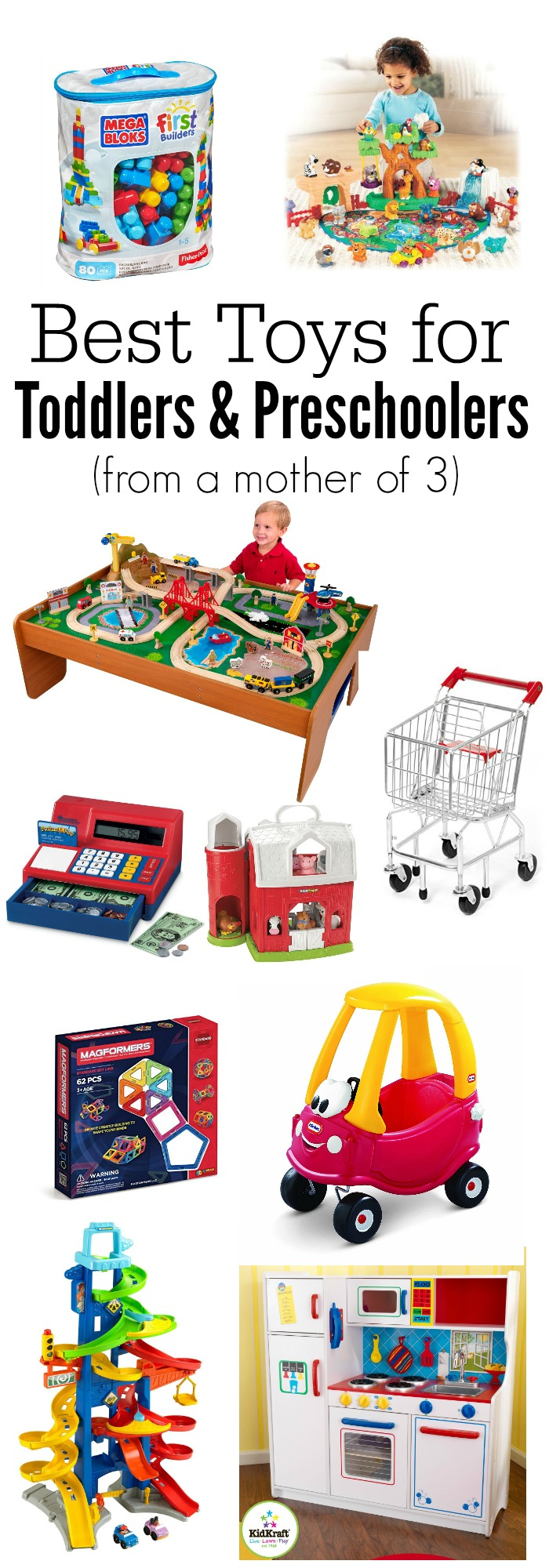 Best toys for toddlers and preschoolers from a mother of 3. These toys are durable, long lasting, promote imaginative and creative play, and are well loved. gift guide | top picks | Christmas | gifts |
