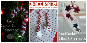 candy cane inspired kid made Christmas ornamenrs