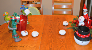 Elf on the Shelf snowball fight with TMNT