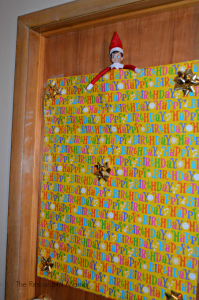 Elf on the Shelf wrapped the door