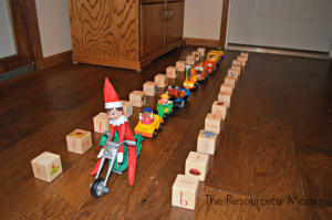 Elf on the Shelf riding a motorcycle
