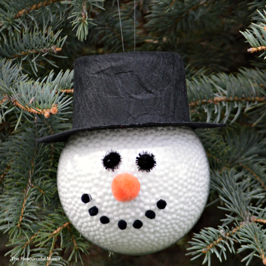 diy frosty the snowman ornament the resourceful mama