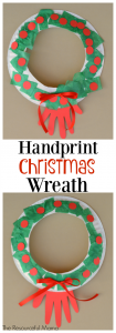 Handprint paper plate Christmas wreath kid craft