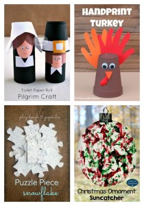 Thanksgiving and Christmas crafts featured at Made for Kids link party