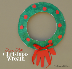 Paper Plate Handprint Christmas Wreath