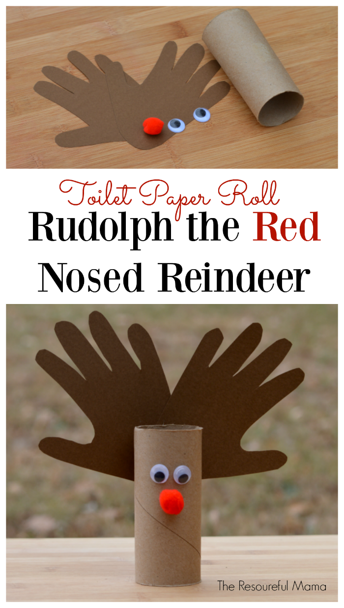 Toilet paper roll reindeer kid craft the resourceful mama for How to make a tree out of toilet paper rolls