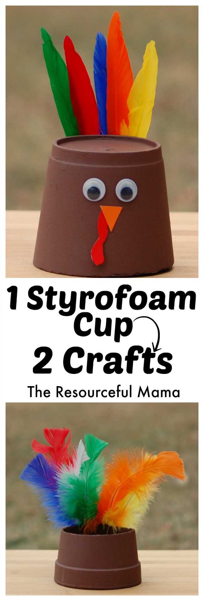 foam cup thanksgiving turkey craft the resourceful mama