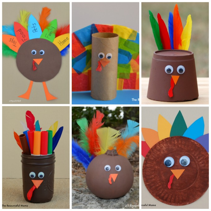 So many fun ways to transform basic crafting supplies, including craft sticks, paper plates, and paper rolls into cute and colorful Turkey Kid Crafts.