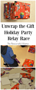 Classroom holiday party game: unwrap the gift relay race. The kids love it!