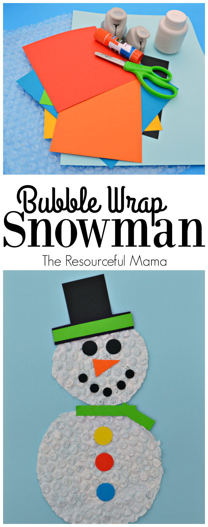 Kids will stay dry and warm making this bubble wrap snowman craft this winter.