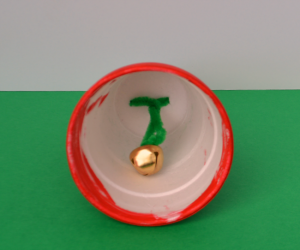 Styrofoam Cup Jingle Bell Christmas craft for Kids using items from the dollar store