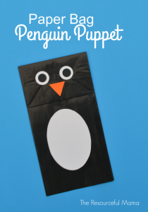 Paper bag penguin puppet craft for kids.
